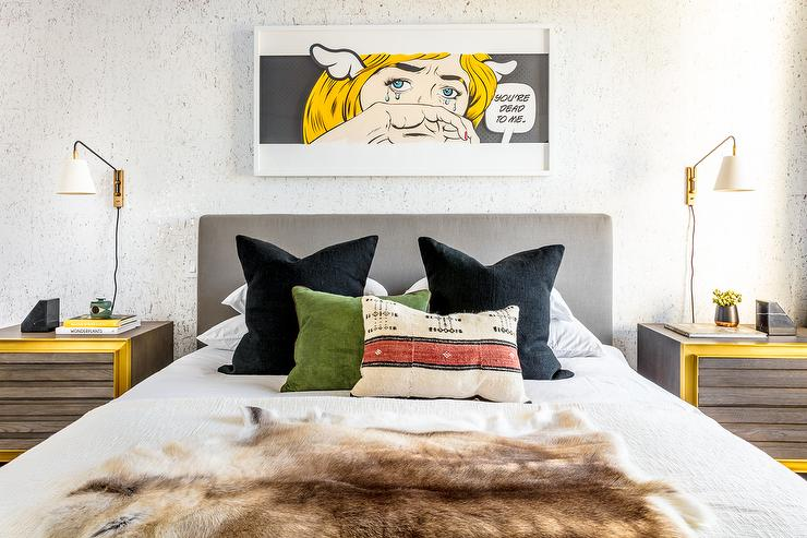 pop art bedroom decor.htm pebble gray headboard with black pillows contemporary bedroom  pebble gray headboard with black