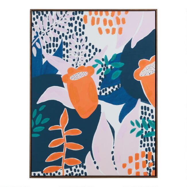Interpretive Foliage Floral Framed Canvas Wall Art