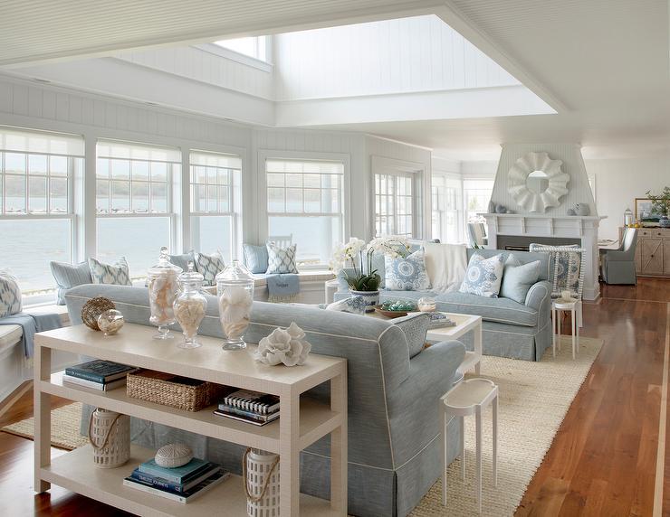 Raffia Wrapped Console Table Behind Blue Sofa Cottage Living Room - Nautical Sofa Table