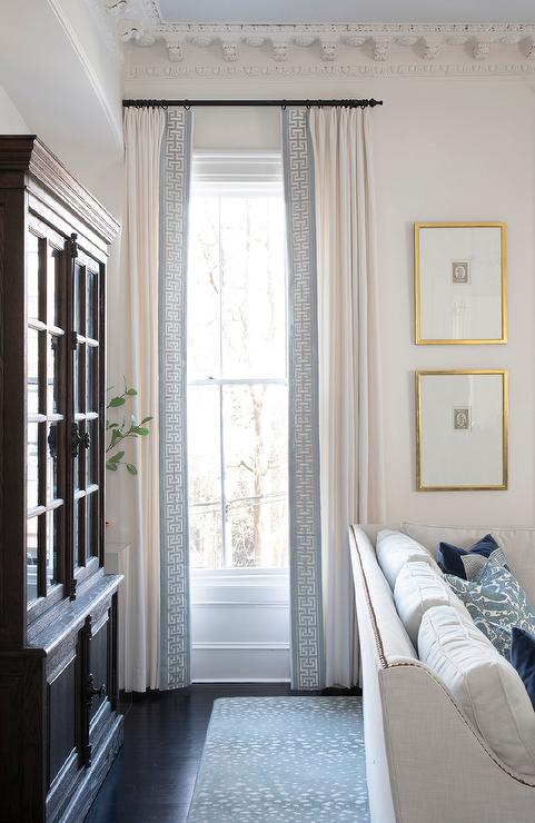 White French Pleat Curtains with Blue Greek key Trim