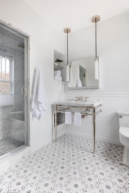 White And Gray Mosaic Bath Floor Tiles Transitional Bathroom
