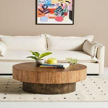 Tambor High Round Reclaimed Wood Coffee Table