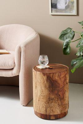 Round Live Edge Drum Side Table