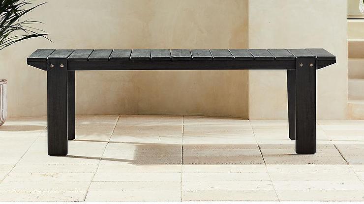 Sarno Black Slatted Wood Outdoor Table