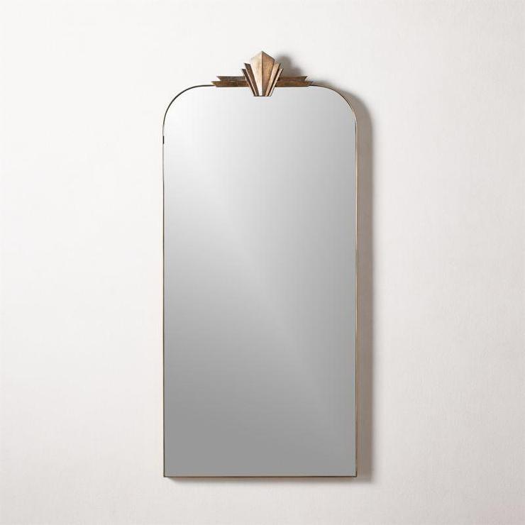 Nouveau Art Deco Brass Wall Mirror