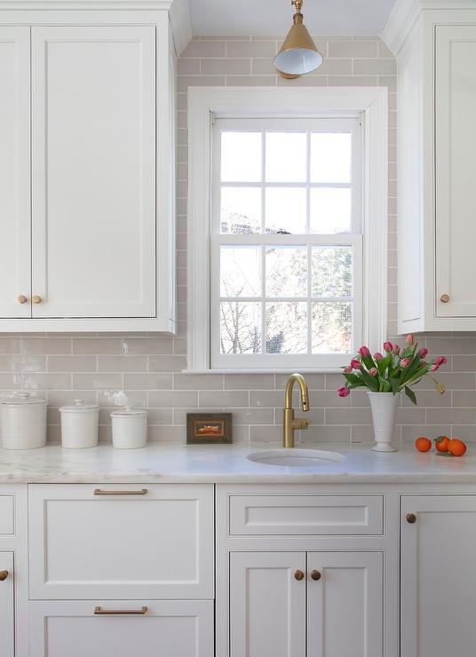 Gray Kitchen Subway Tiles With White Grout Transitional