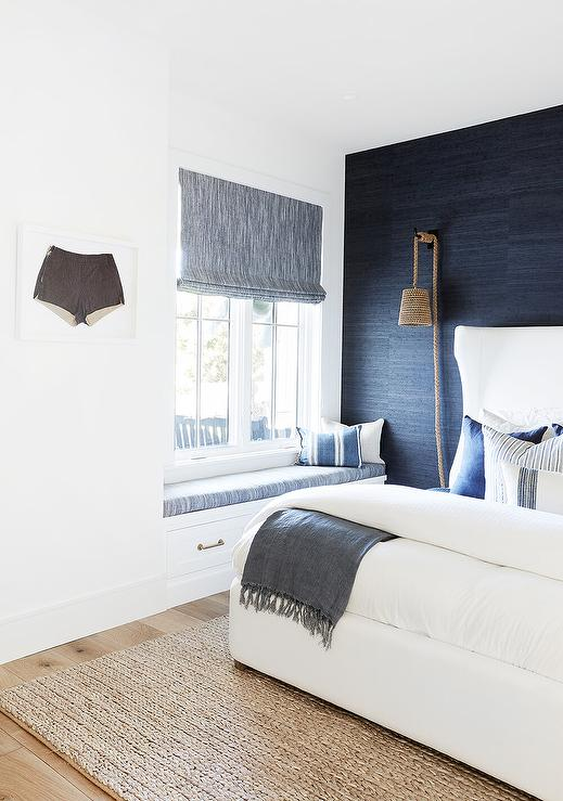 Navy Blue Accent Wall With White Bed Cottage Bedroom