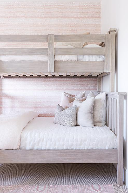 Light Brown Bunk Bed With Pale Pink Bedding Transitional Girl S Room
