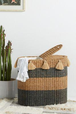 Seagrass Blue Striped Tassels Hamper Basket
