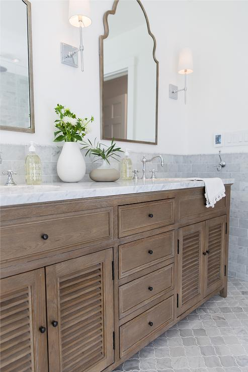 Restoration Hardware Shutter Double Vanity With Gray Marble Transitional Bathroom