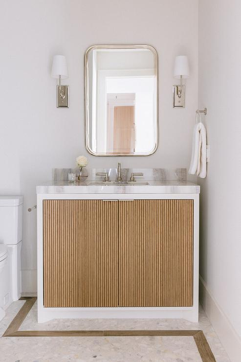 White Washstand With Gold Reeded Cabinet Doors Transitional Bathroom