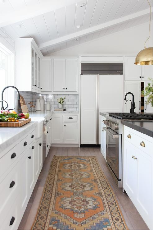Orange And Blue Vintage Rug In Coastal Kitchen Cottage Kitchen