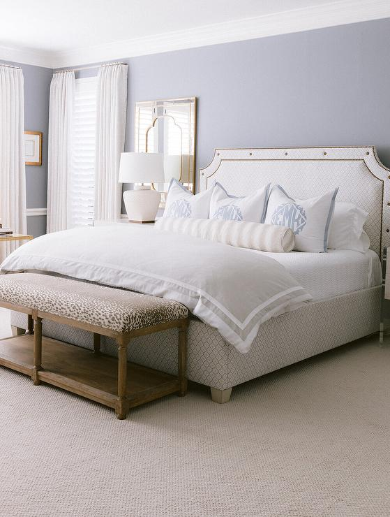 White French Bed With Leopard Print Bench Transitional Bedroom