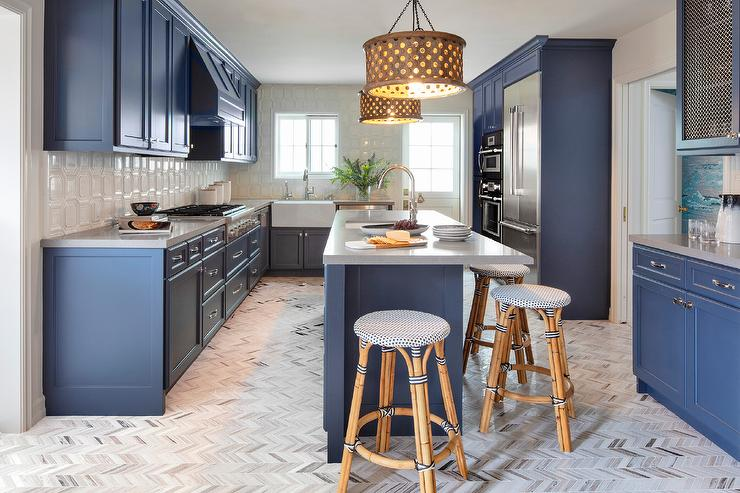 Blue Shaker Kitchen With Taupe Chevron Floor Tiles Transitional Kitchen