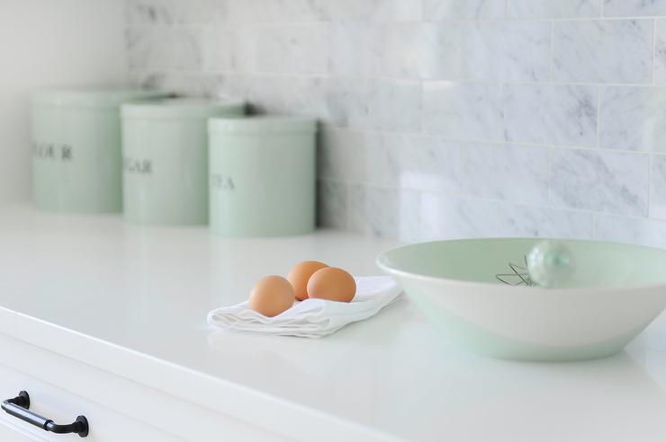 Mint Green Vintage Flour Sugar Tea Canisters Transitional Kitchen