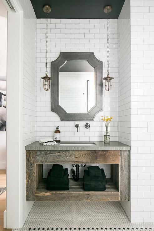 Floating Reclaimed Wood Sink Vanity With Galvanized Metal Mirror Vintage Bathroom