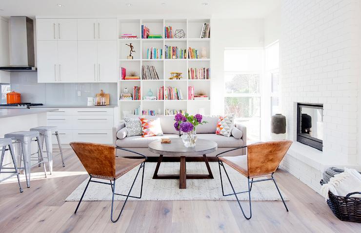 Burl Wood Coffee Table On Blue Quatrefoil Rug Transitional Living Room