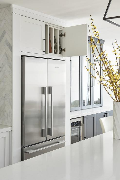 Pan Storage Over Refrigerator - Transitional - Kitchen