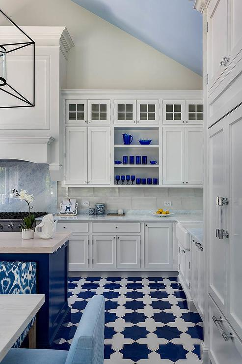 White And Blue Moroccan Style Floor Tiles Contemporary Kitchen