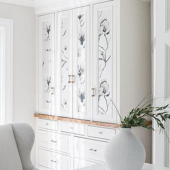 Wallpaper On Cabinet Doors Design Ideas White dresser glass doors wallpaper