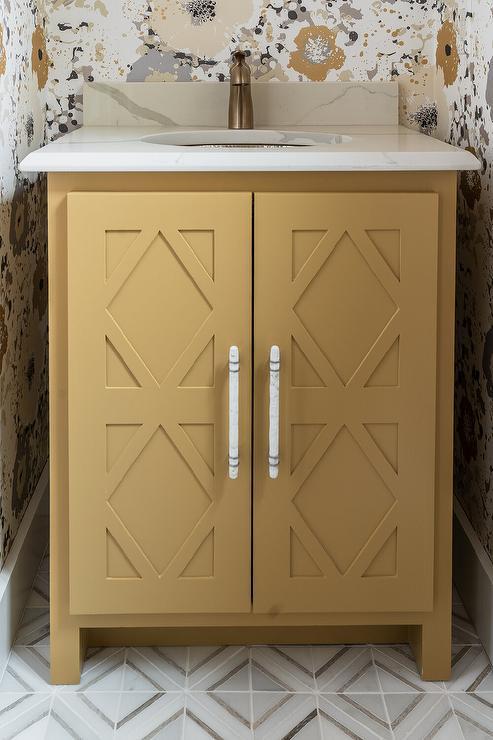 Mustard Yellow Bath Vanity With Diamond Doors Contemporary Bathroom