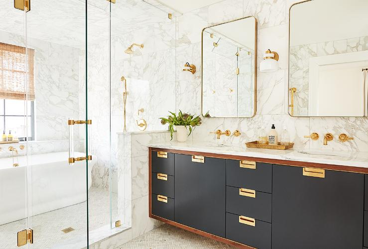 Black Campaign Style Dual Washstand With Polished Brass Hardware Transitional Bathroom