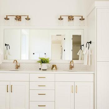 White Sink Vanity With Gold Hardware Design Ideas