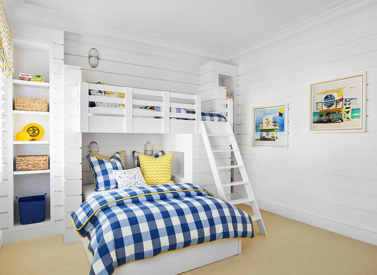 Yellow and Blue Boys Room with Built In Loft Bed - Cottage - Boy's