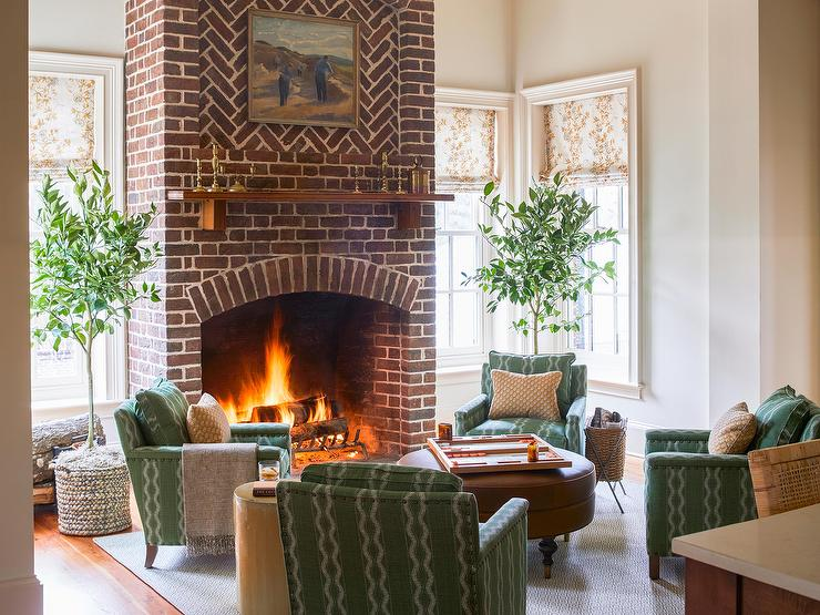 Green Accent Chairs At Red Brick Fireplace Country Living Room