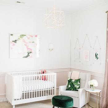 White And Pink Nursery With Green Stool Design Ideas