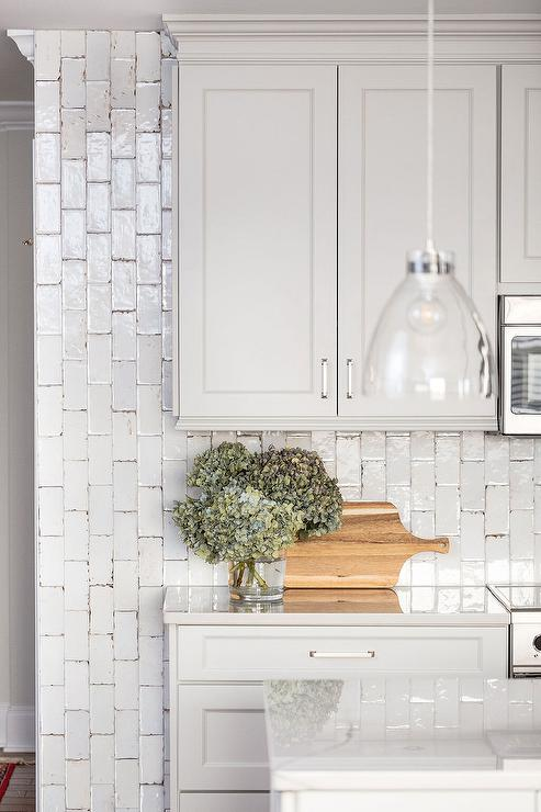 Vertical White Glazed Distressed Kitchen Backsplash Tiles Transitional Kitchen