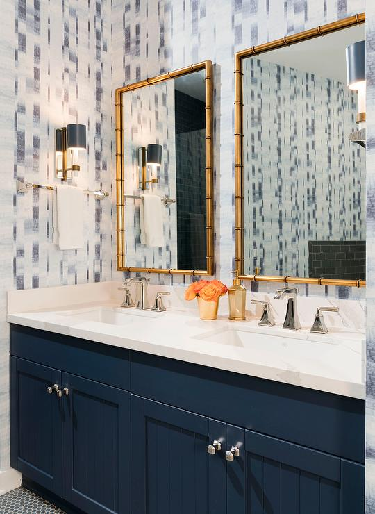Dark Blue Plank Double Washstand With Gold Bamboo Mirrors Transitional Bathroom