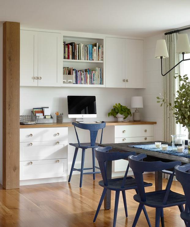 Kitchen Wall With Built In Work Space With Shiplap Trim Cottage Kitchen
