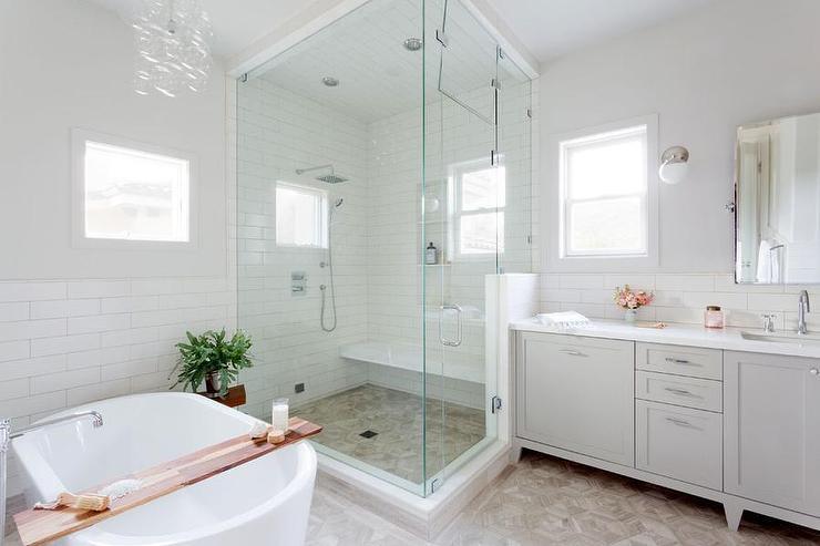 mixed vertical and horizontal bathroom