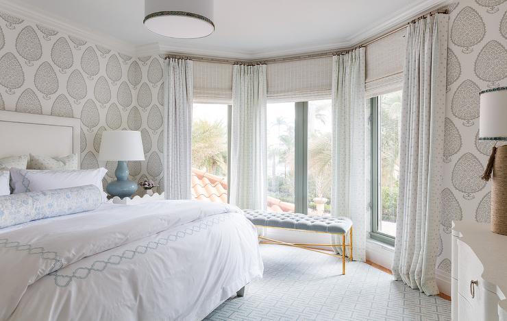 Master Bedroom Bay Window With Blue Velvet Tufted Bench Transitional Bedroom