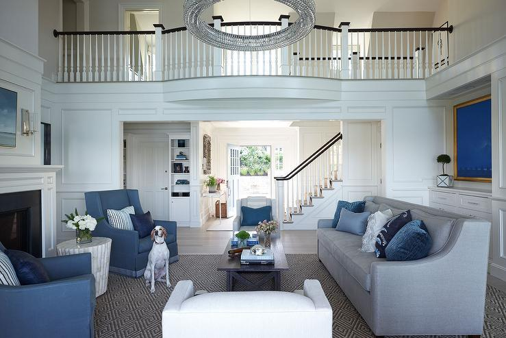 Gray Sofa With Swoop Arms And Blue Pillows Traditional Living Room