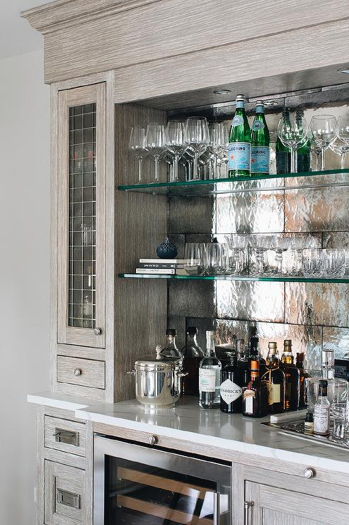 Brown Brushed Oak Bar With Glass, Bar Mirror With Glass Shelves