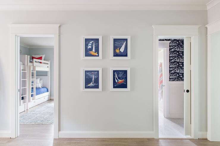 Boys Bathroom Gold And Navy Blue Nautical Art Prints Cottage Bathroom