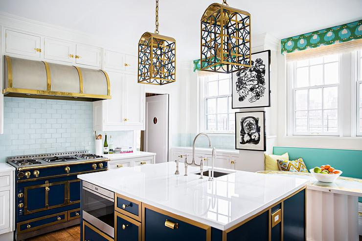 Gold And Blue Kitchen With French Stove Contemporary