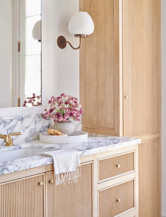 Reeded Vanity Cabinet Doors Design Ideas