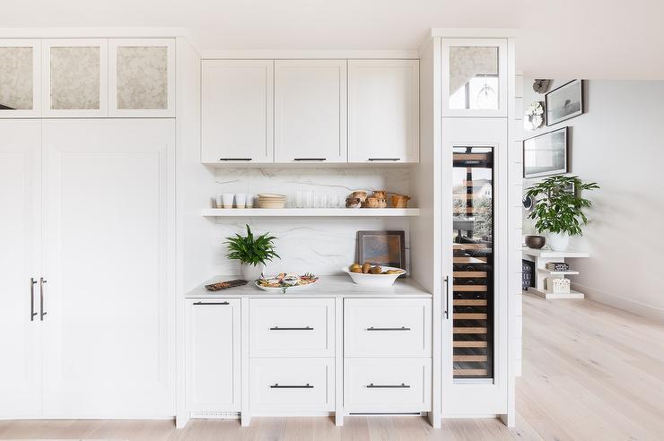 Alyssa Rosenheck Antiqued Mirrored, Narrow White Kitchen Cabinet