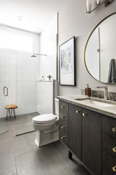 Dark Brown Bathroom Vanity Design Ideas, Dark Brown Wood Bathroom Mirror