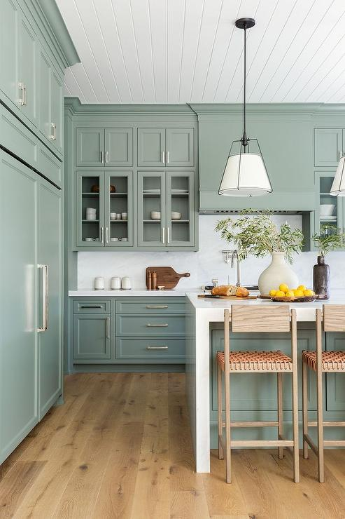 Sage Green Kitchen Cabinets With White Marble Slab Backsplash Transitional Kitchen