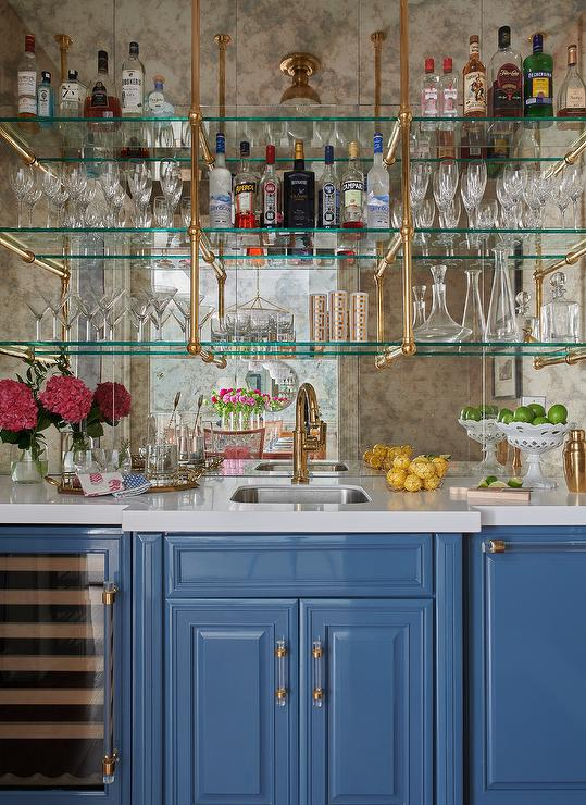 Glass And Brass French Wet Bar Shelves, Bar Mirror With Glass Shelves