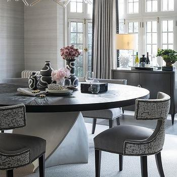 Extra Large Round Gray Dining Table, Very Large Round Dining Table