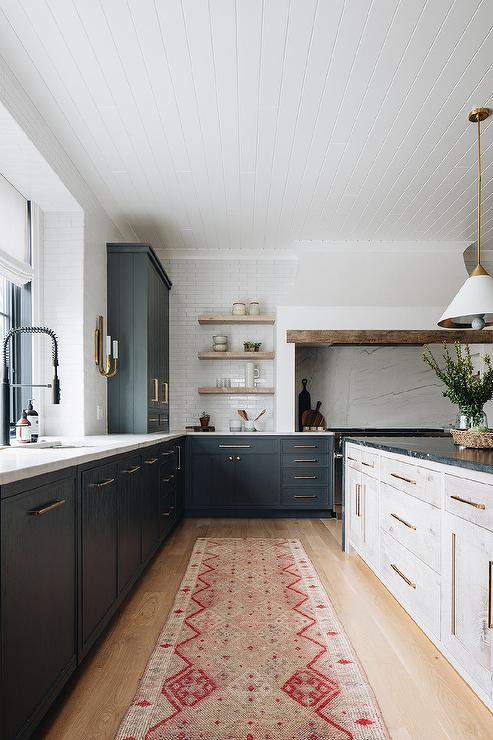 White Pink And Red Runner In Front Of Black Kitchen Cabinets Transitional